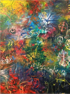 SONG OF REDEMPTION 2 - abstract green, blue, red, yellow painting
