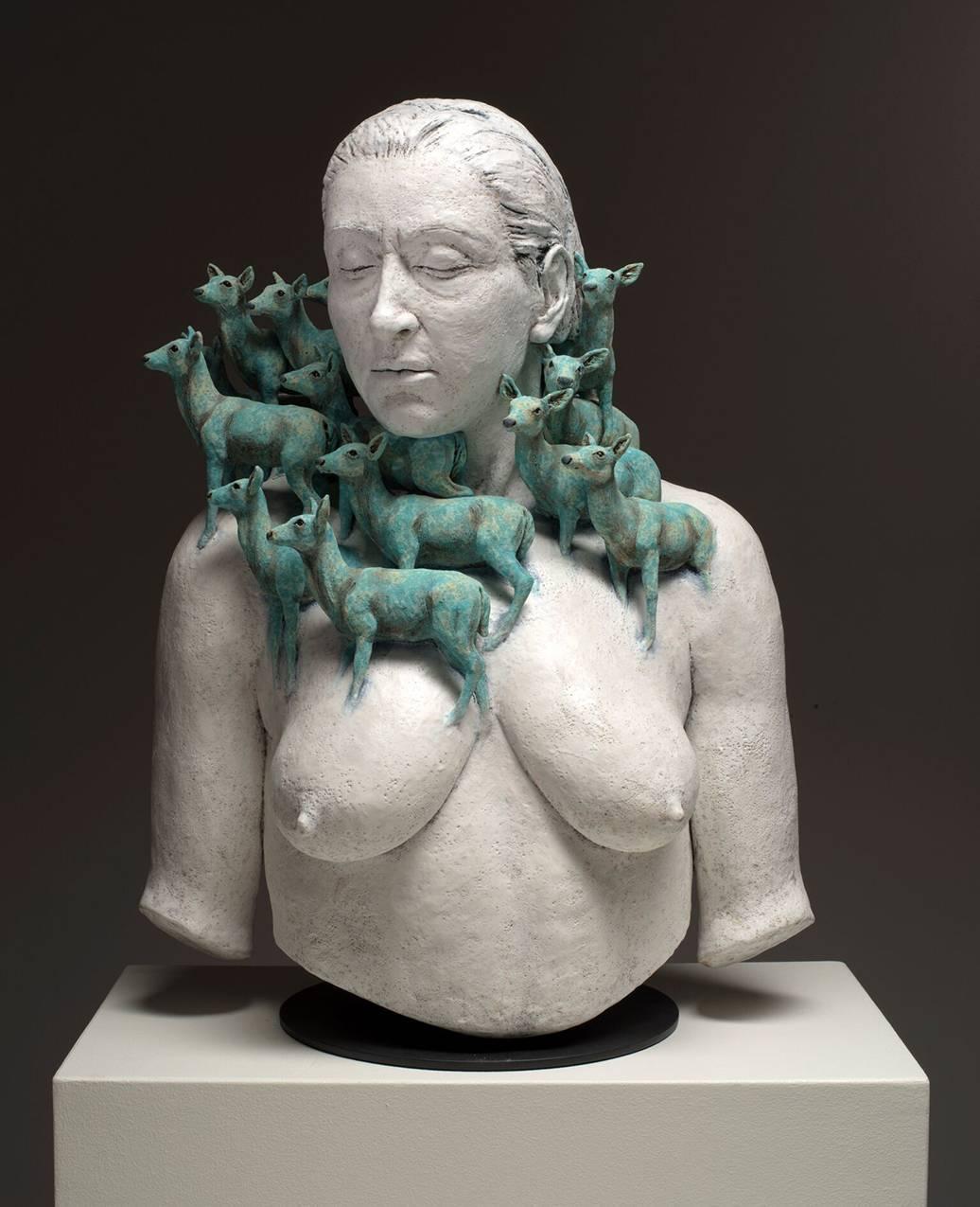 HEARD II - ceramic hand-built sculpture of nude woman with deer