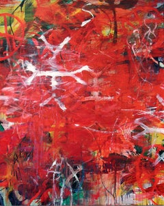 RED TRUTH II - red abstract painting with symbols