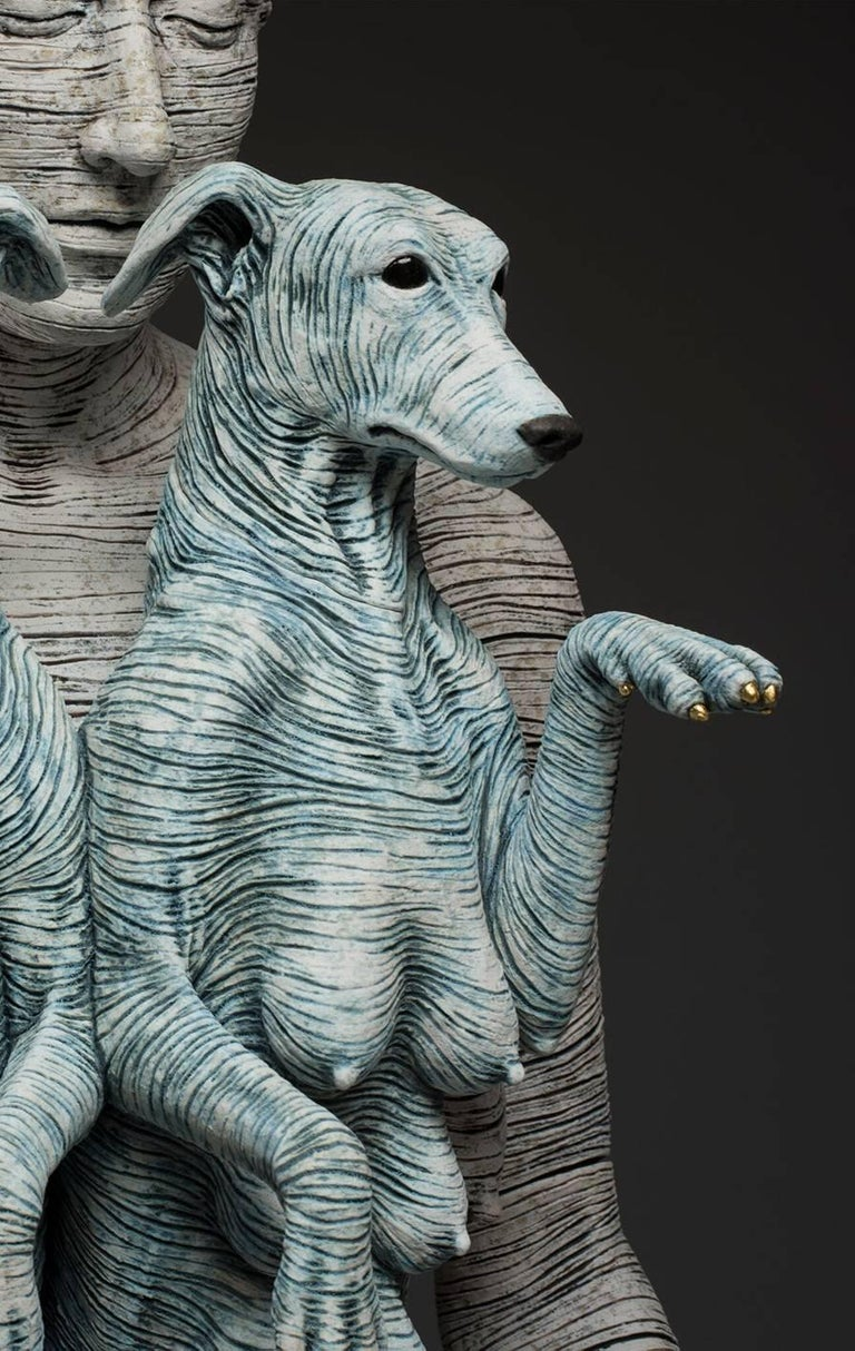 Artemis and Diana II - large ceramic sculpture of woman or goddess with dogs - Sculpture by Adrian Arleo