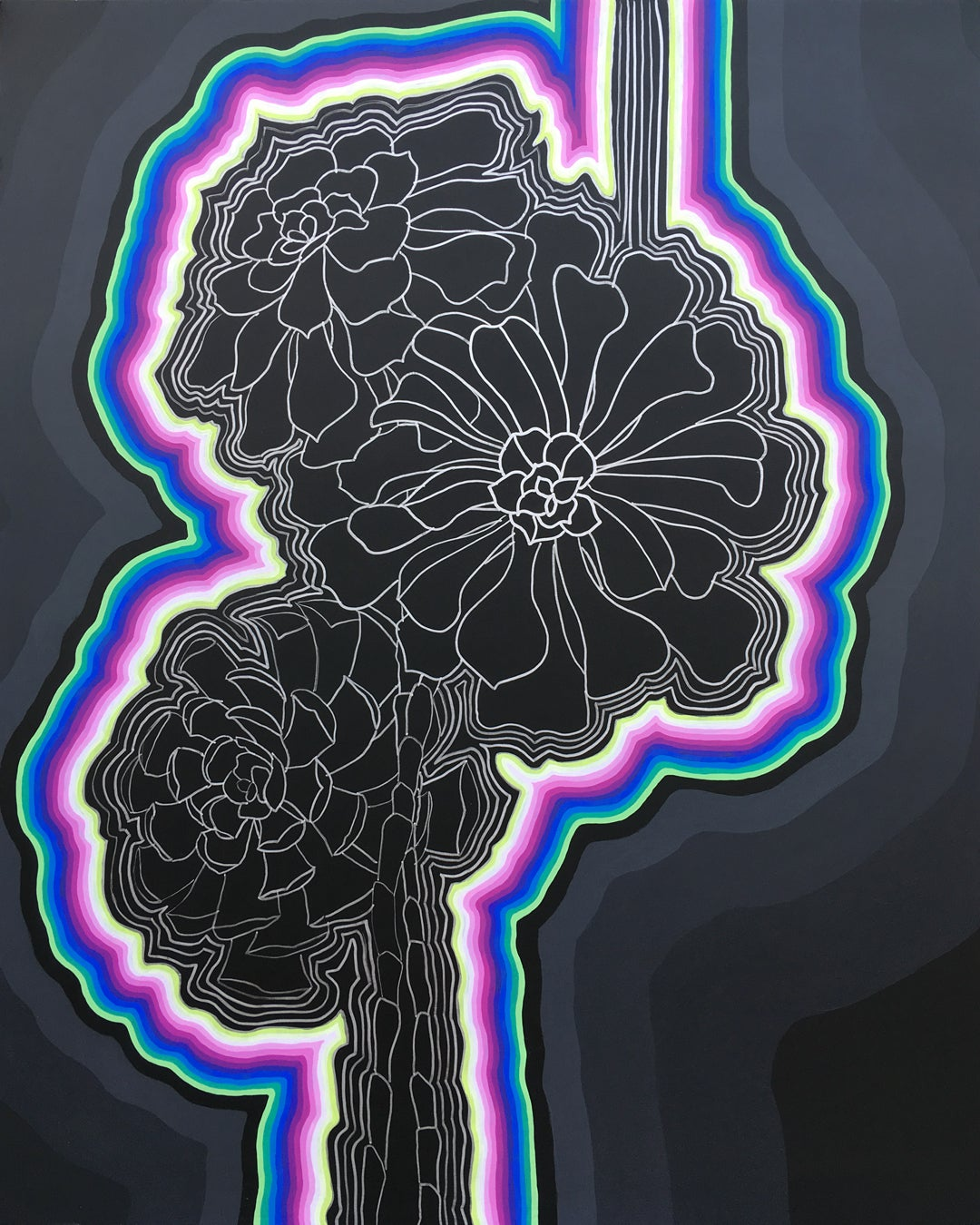 ATOMIC SUCCULENT - black and purple floral painting