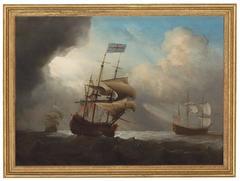 Warships shortening sail in a breeze