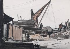 Figures in a boatyard