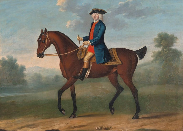 (Attributed to) Thomas Spencer Animal Painting - Equestrian portrait of William, 2nd Duke of Portland (1708-1762) in a landscape