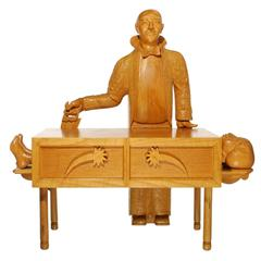 The Magician Wood Carved Figural Sculpture by Floyd Shaman