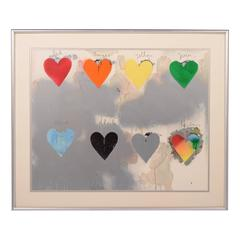8 Eight Hearts Lithograph