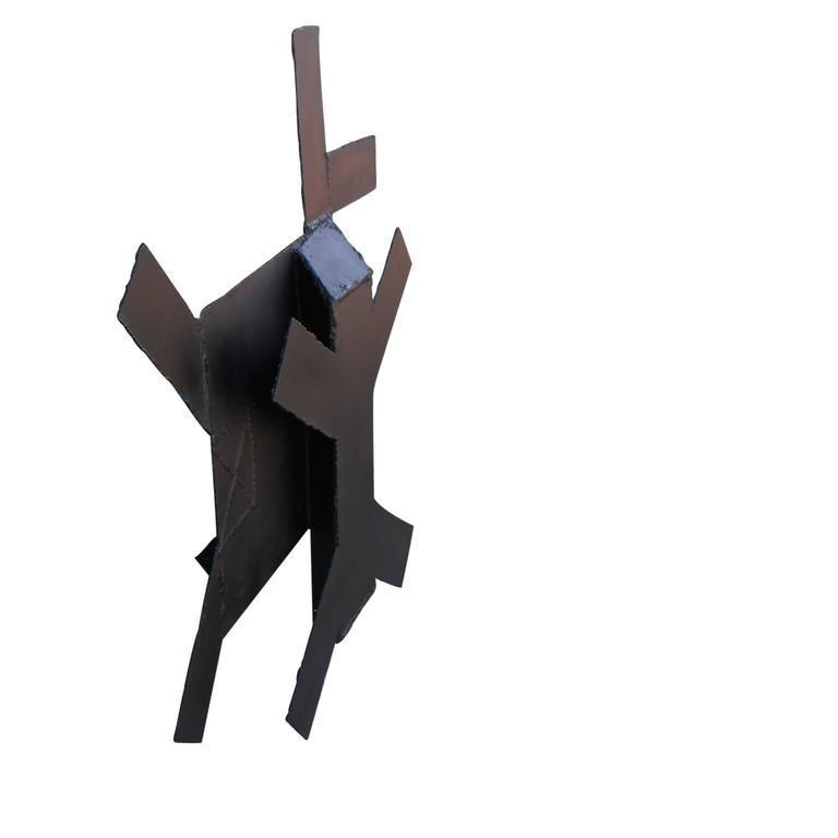 Minimal Black Steel Abstract Wall Sculpture  For Sale 1