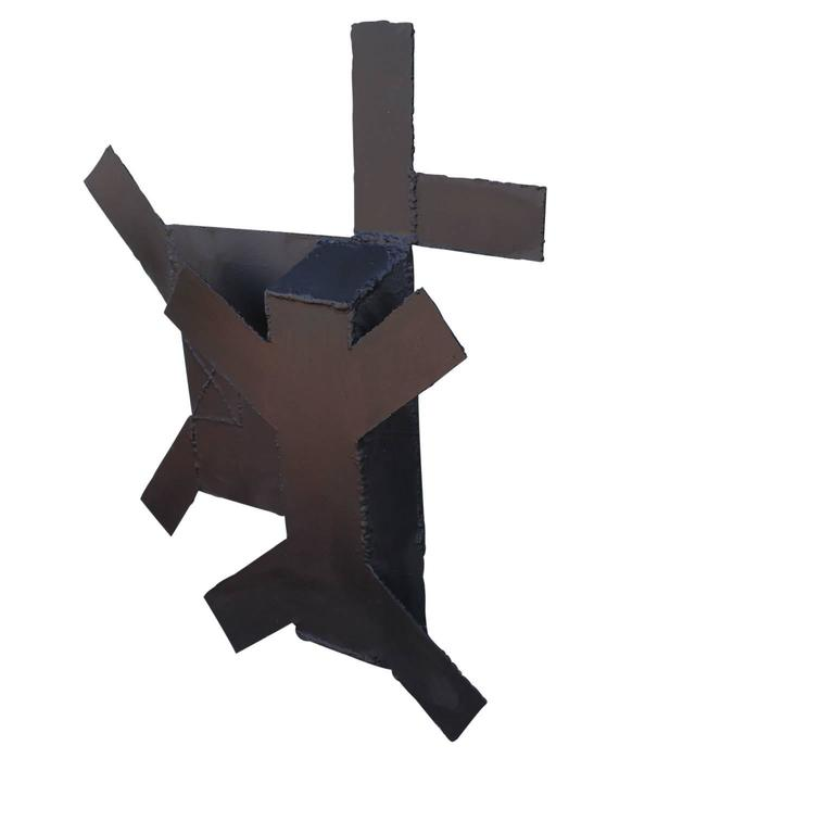 Minimal Black Steel Abstract Wall Sculpture  For Sale 2