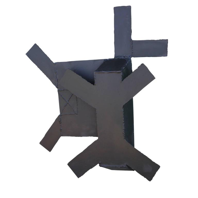 Minimal Black Steel Abstract Wall Sculpture  For Sale 3