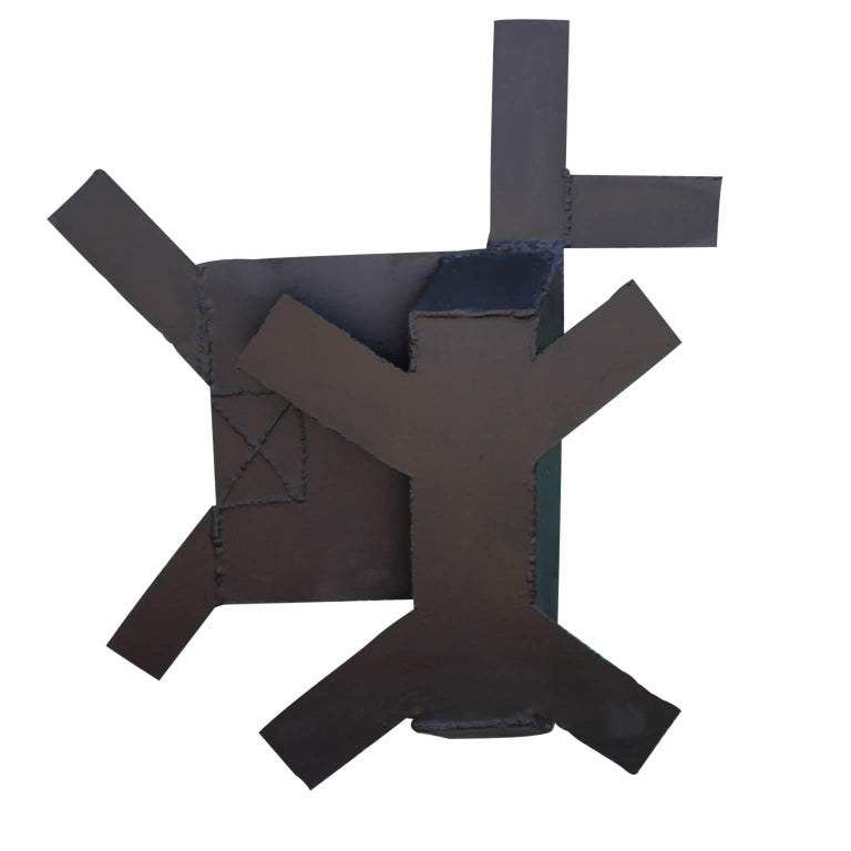 George Smith Abstract Sculpture - Minimal Black Steel Abstract Wall Sculpture