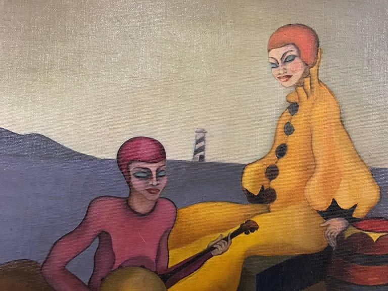 Surrealist Painting of Two Relaxing Harlequins 4