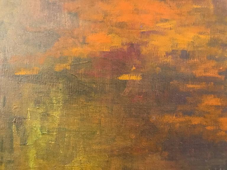 Texas Sunrise Abstract Impressionist Painting - Brown Abstract Painting by William Anzalone