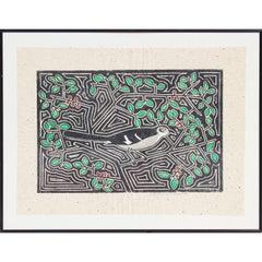 Mockingbird in Yaupon Block Print