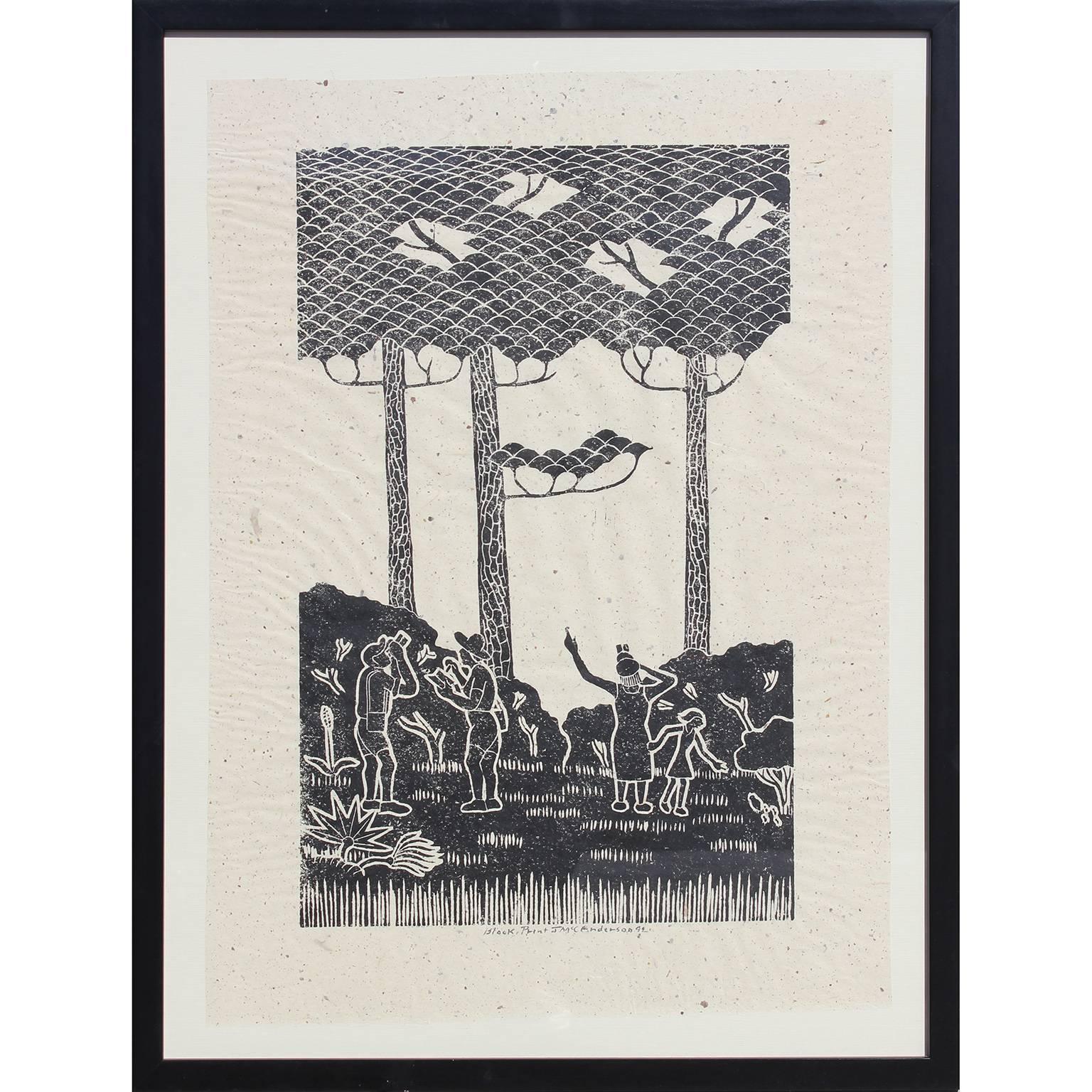 Birdwatchers Block Print