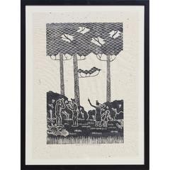 Birdwatchers Block Print by James Mac Anderson