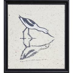 Drinking Bird Block Print by James Mac Anderson '94