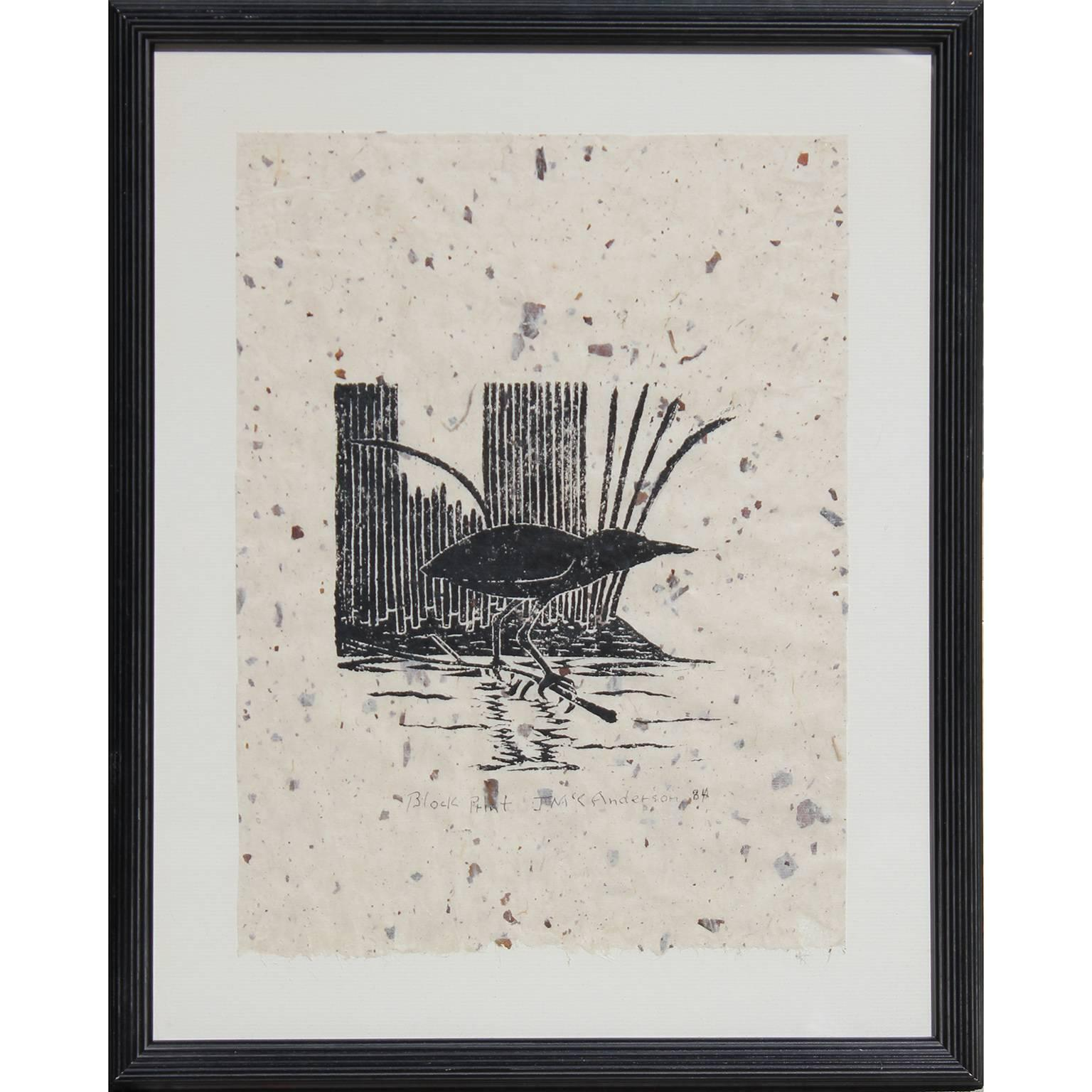 Little Green Heron Bird Block Print