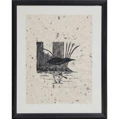 Little Green Heron Bird Block Print by James Mac Anderson