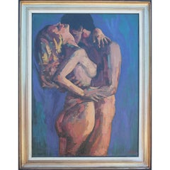 Large Impressionist Textured Embracing Nude Painting