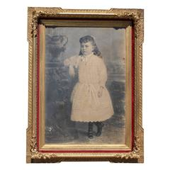 Large Photograph Portrait of Victorian Era Girl in Ornate Gold Frame