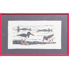 Oyster Catchers Block Print