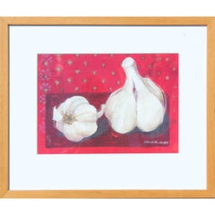 Study of Garlic Still Life with Red Background