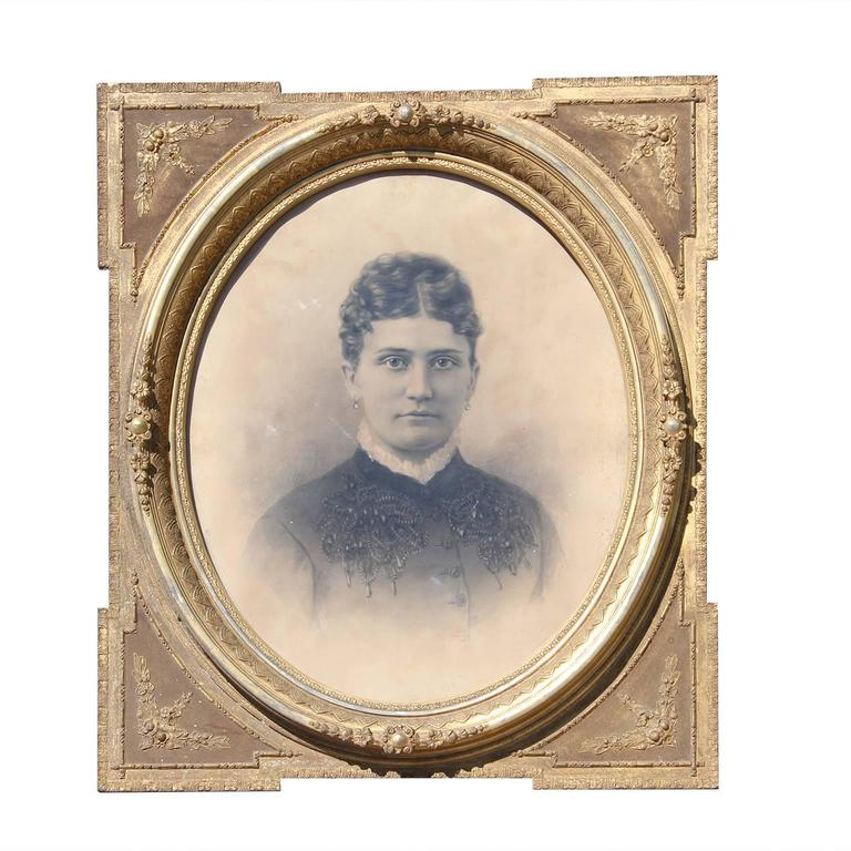 Unknown Portrait Photograph - Victorian Era Photograph Portrait of a Woman in Ornate Gold Frame