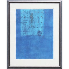 Blue Abstract Expressionist Woodblock Print Edition 3 of 20