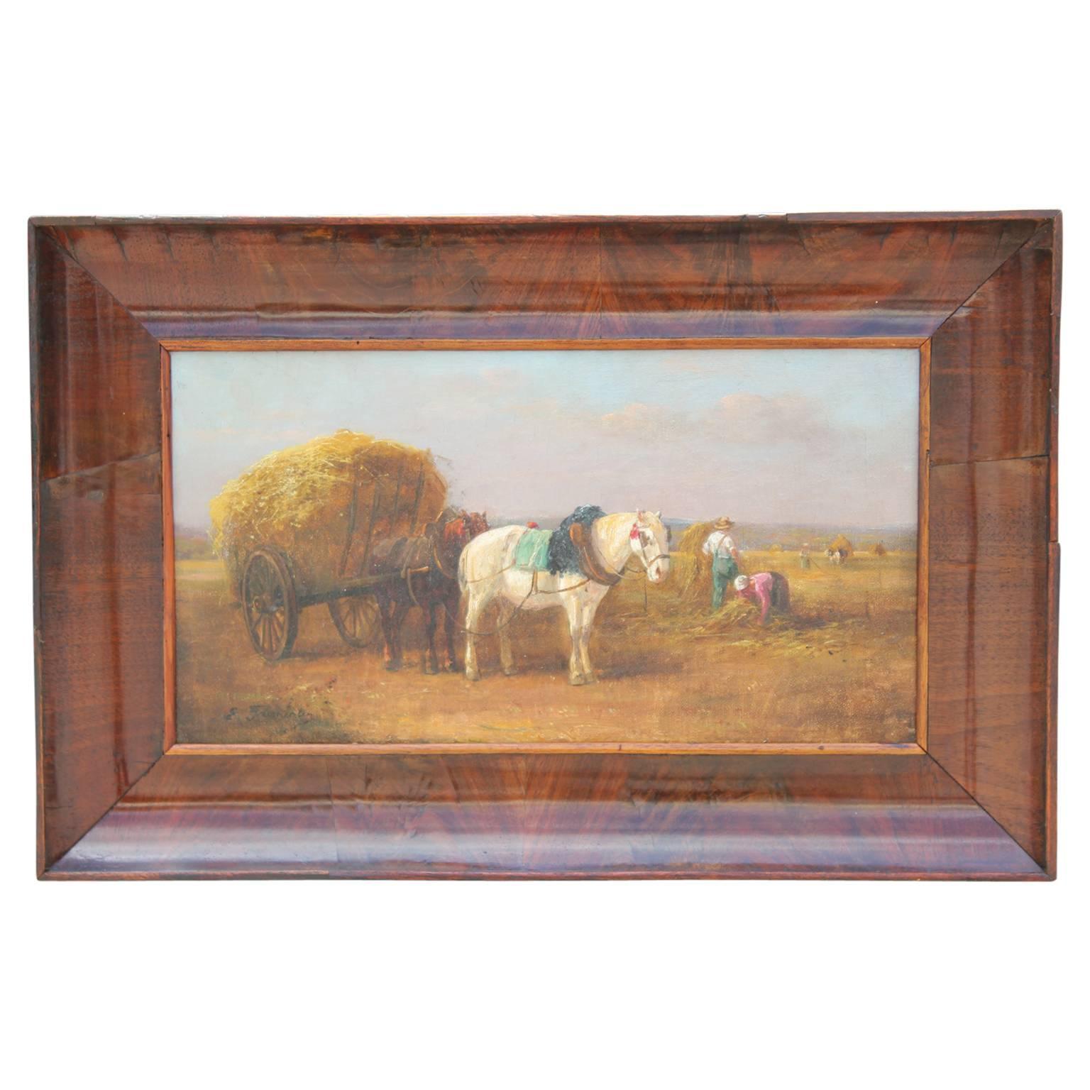 Hay Farm Scene with Landscape