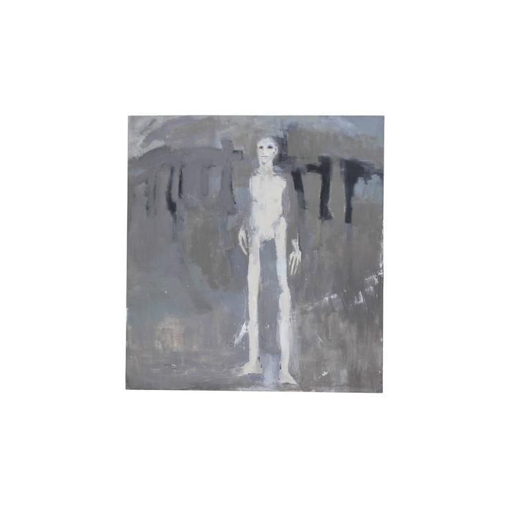 Grey Abstract with Tall Man - Painting by Patricia Hernandez