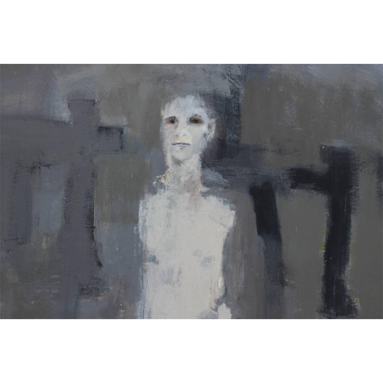 Grey Abstract with Tall Man - Gray Abstract Painting by Patricia Hernandez