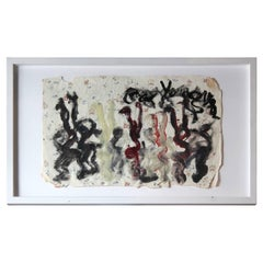 Expressionist Dancers Painted on Wallpaper
