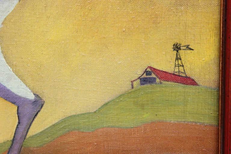 Surrealist painting from 1950 by artist Camilo of a nude woman leading a purple horse through a bright yellow and orange landscape with a small barn in the background.