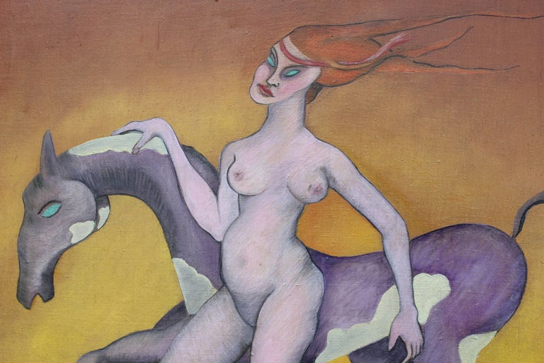 Surrealist Painting of a Nude Woman and Horse - Brown Nude Painting by Camilo
