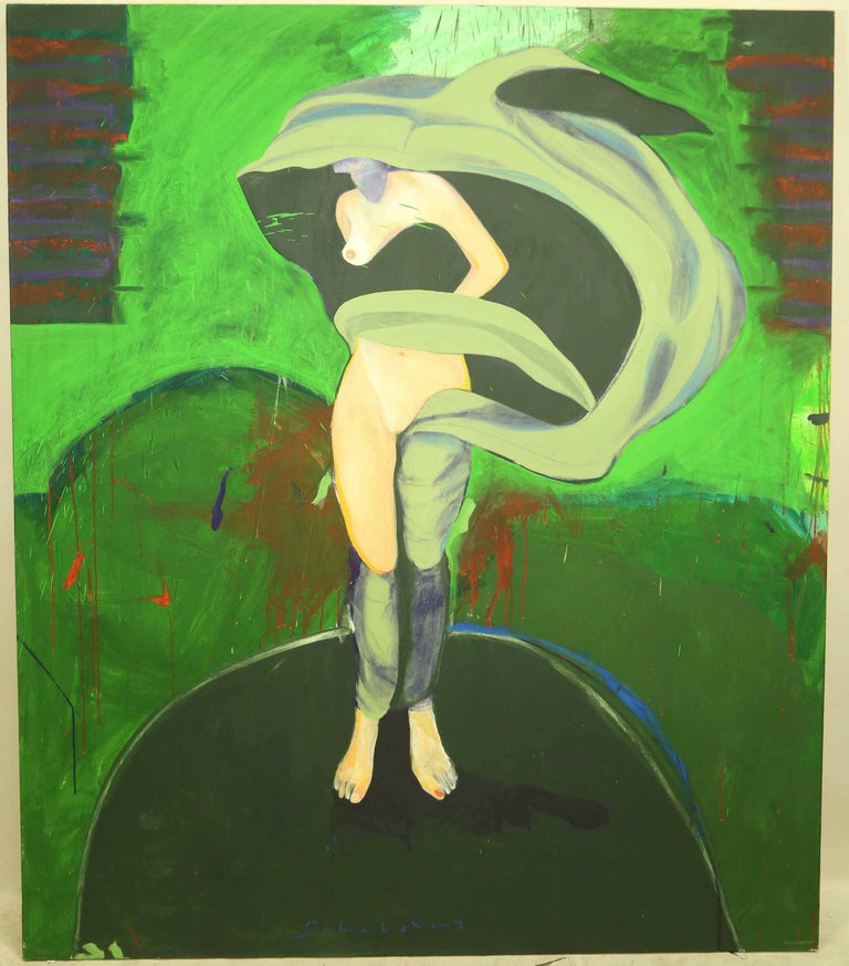 """Fritz Scholder Abstract Painting - """"Millennium #7"""", Massive Surrealist Female Nude Painting"""