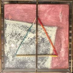 Geometric Mixed Media Abstract in Glass Shadobox