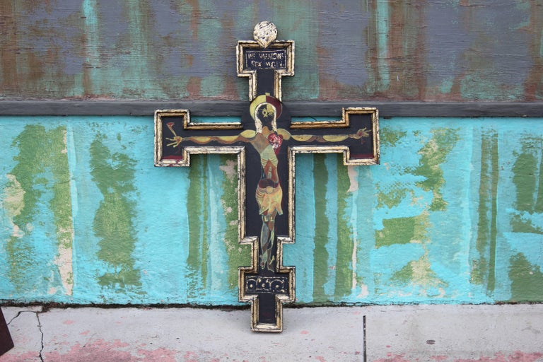 Abstract Crucifix Painting from San Miguel, Mexico