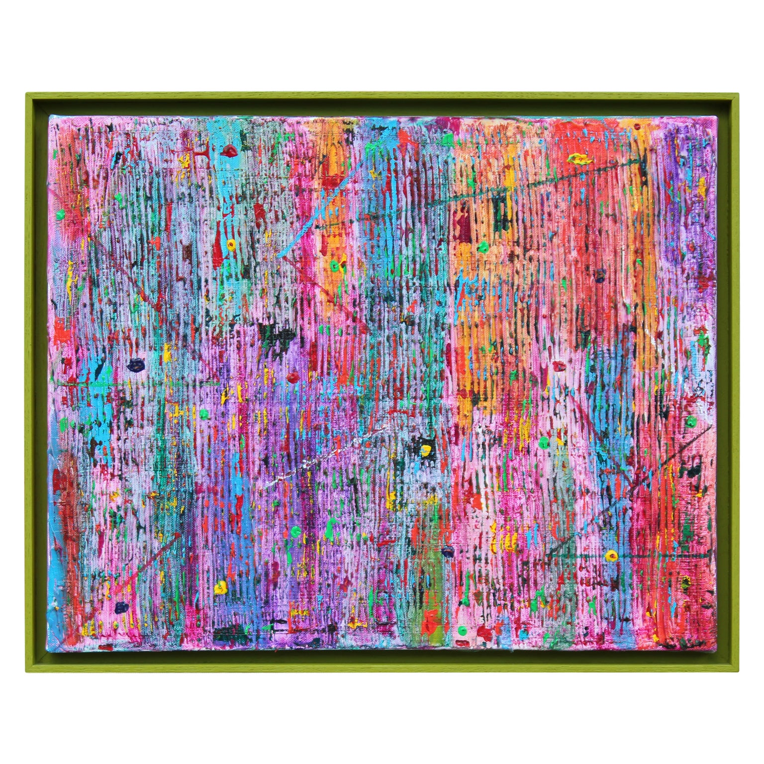 """""""No Respect Drafted 1966-69 U.S. Army"""" Colorful Abstract Stripe Drip Painting"""
