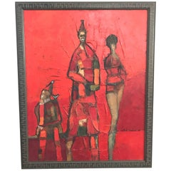 Red Figurative Abstract Cubist Painting