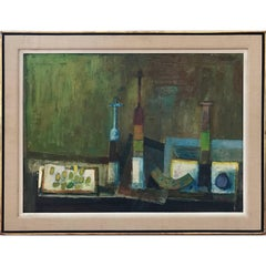 Impressionist Still Life Painting with Bottles