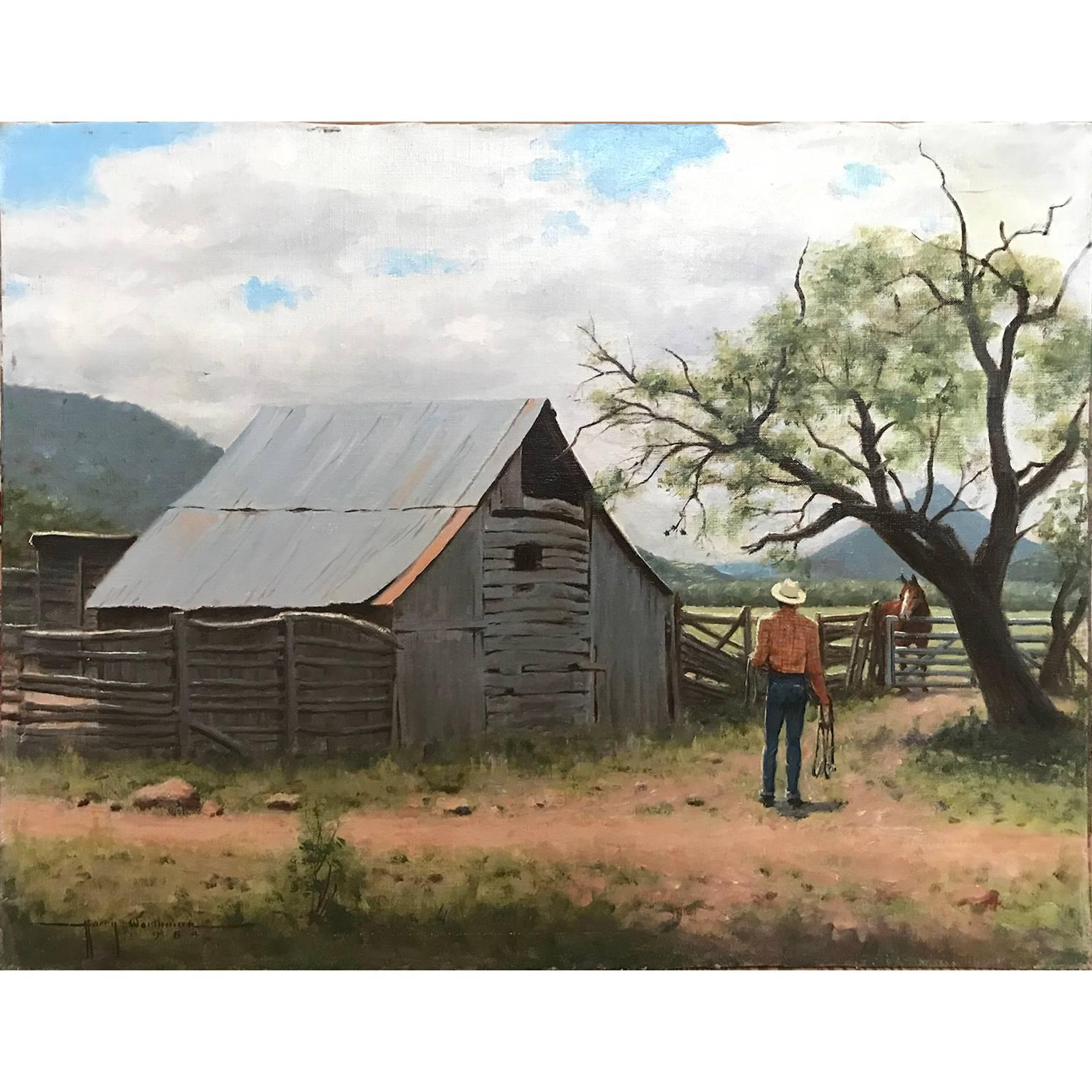 View of Texas Hill Country with Cowboy Realist Landscape Oil Painting