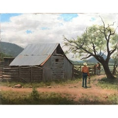 View of Texas Hill Country with Cowboy, Realist Landscape Oil Painting