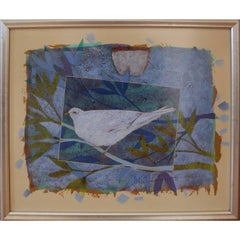Modern Dove On Paper Geometric, Blue, Oil Painting