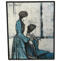 Blue Linear Domestic Family Scene with Two Women