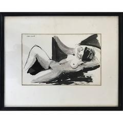 Nude Woman Ink Wash on Paper