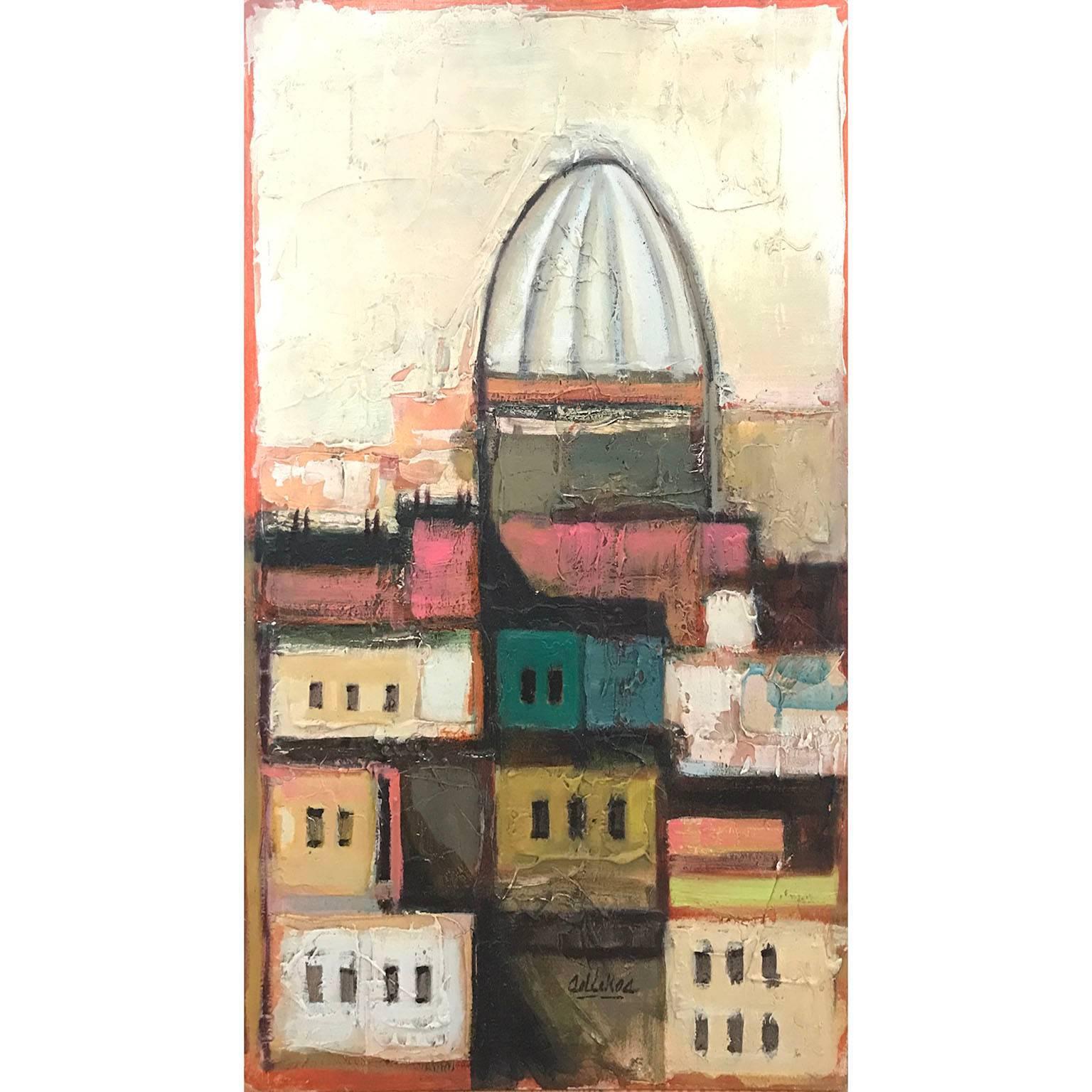 Early David Adickes Abstract Cityscape, 1960s