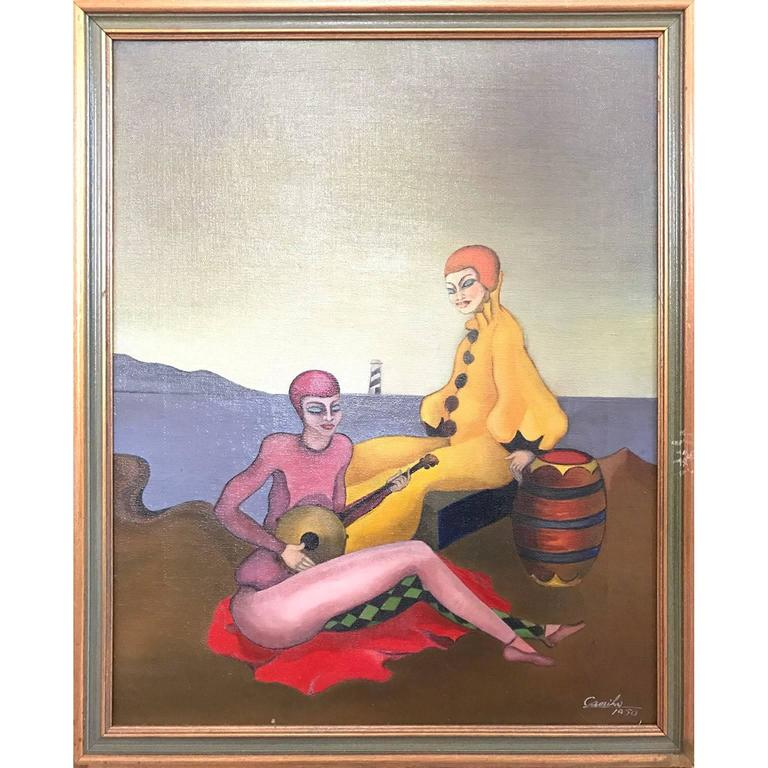 Surrealist Painting of Two Relaxing Harlequins 1