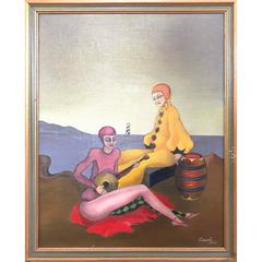 Surrealist Painting of Two Relaxing Harlequins