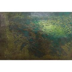 Impressionist Green Reverse Painting