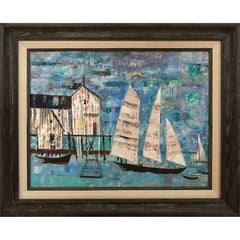 Cool-Colored Abstract Expressionist Sailboats and Boat House